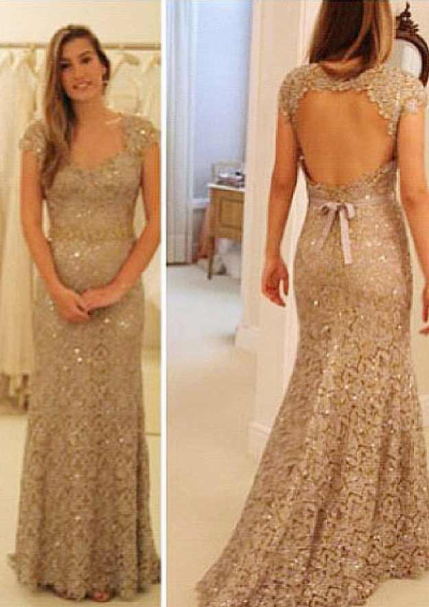 Sheath/Column V Neck Short Sleeve Long/Floor-Length Lace Prom Dress With Bowknot