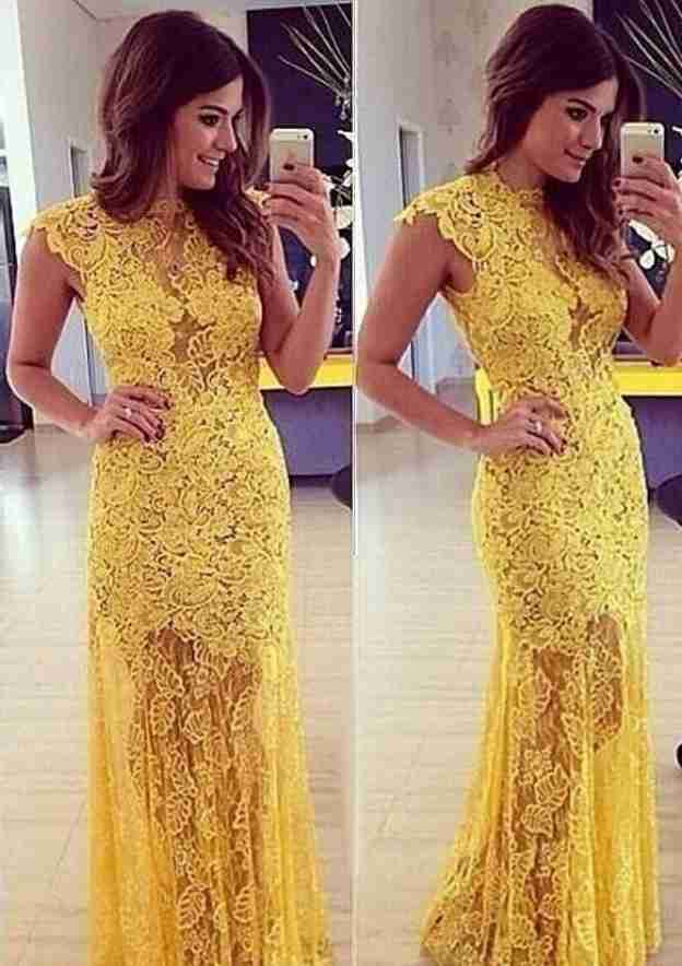 Sheath/Column Scoop Neck Sleeveless Long/Floor-Length Lace Prom Dress With Appliqued