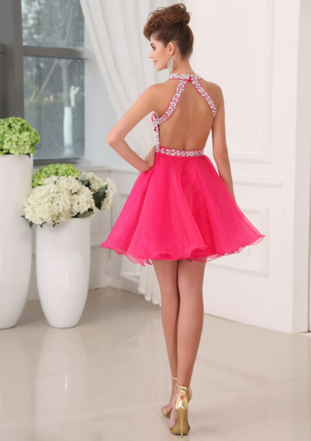 A-Line/Princess Halter Sleeveless Short/Mini Organza Homecoming Dress With Crystal