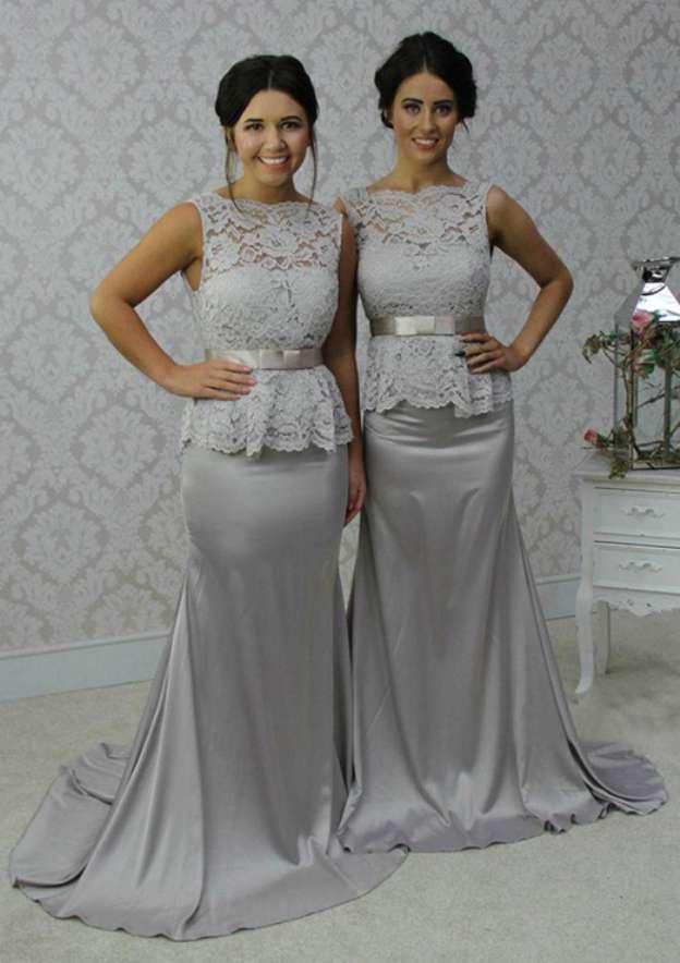 Sheath/Column Scalloped Neck Sleeveless Chapel Train Charmeuse Bridesmaid Dresses With Lace Bowknot
