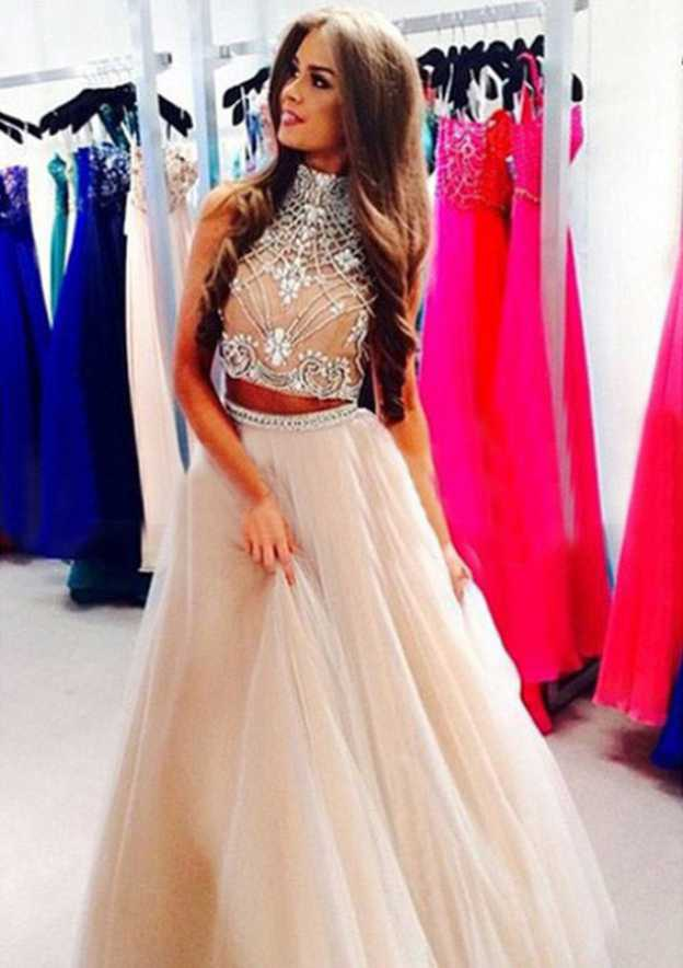 Ball Gown High-Neck Sleeveless Long/Floor-Length Tulle Prom Dress With Beading
