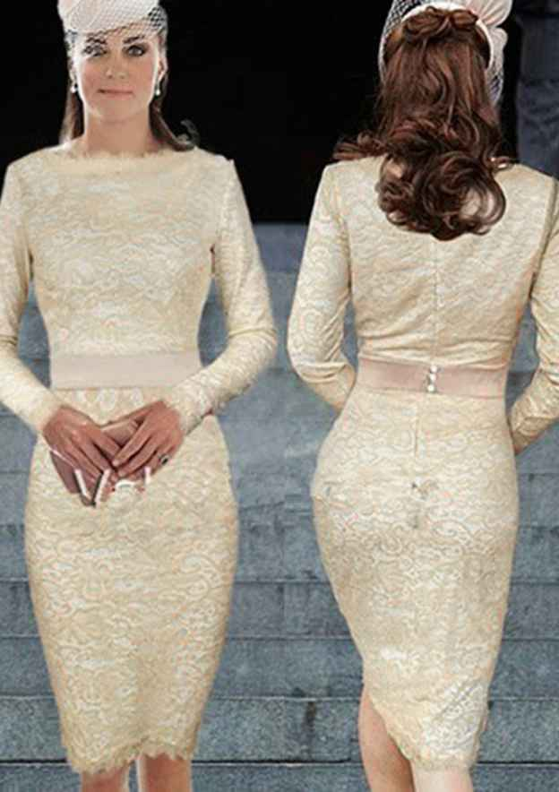 Sheath/Column Scoop Neck Full/Long Sleeve Knee-Length Lace Mother Of The Bride Dress