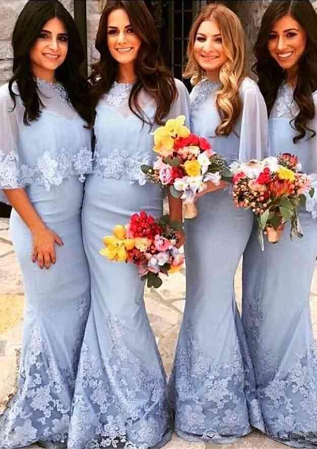 Sheath/Column Bateau Half Sleeve Long/Floor-Length Chiffon Bridesmaid Dress With Lace