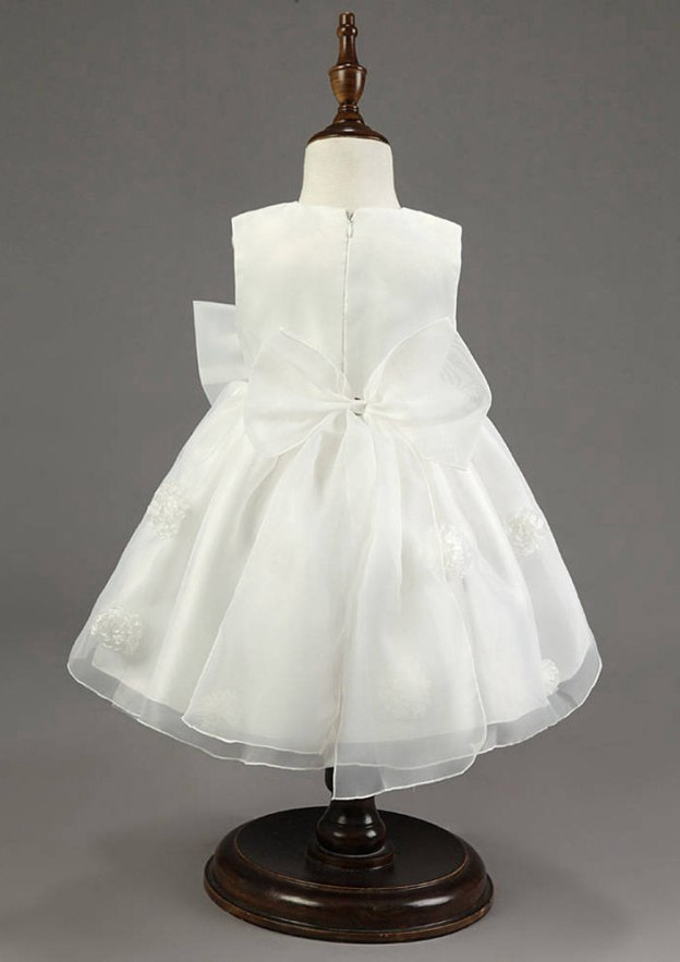 A-Line/Princess Bateau Sleeveless Ankle-Length Organza Flower Girl Dress With Appliqued Bowknot