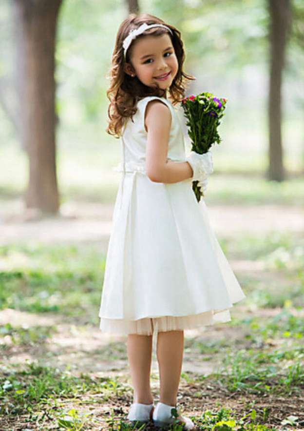 A-Line/Princess Bateau Sleeveless Tea-Length Organza Flower Girl Dress With Waistband