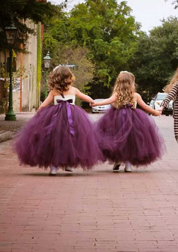 Ball Gown One-Shoulder Sleeveless Ankle-Length Tulle Flower Girl Dress With Handmade Flowers