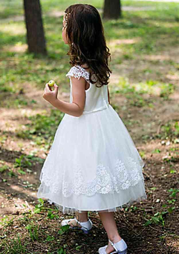 A-Line/Princess Bateau Sleeveless Tea-Length Tulle Flower Girl Dress With Appliqued