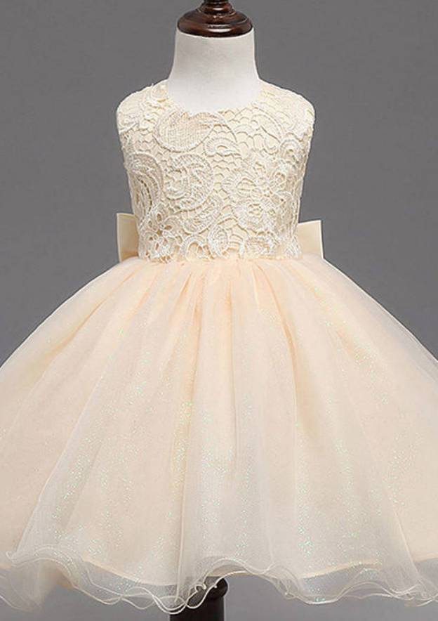 Ball Gown Scoop Neck Sleeveless Tea-Length Organza Flower Girl Dress With Bowknot Lace