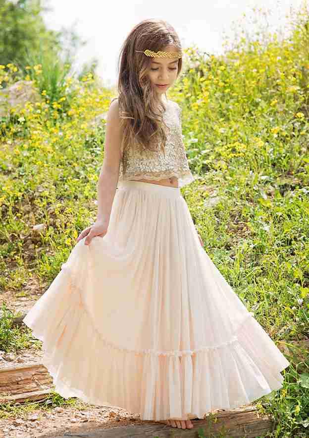 A-Line/Princess Bateau Sleeveless Long/Floor-Length Chiffon Flower Girl Dress With Sequins