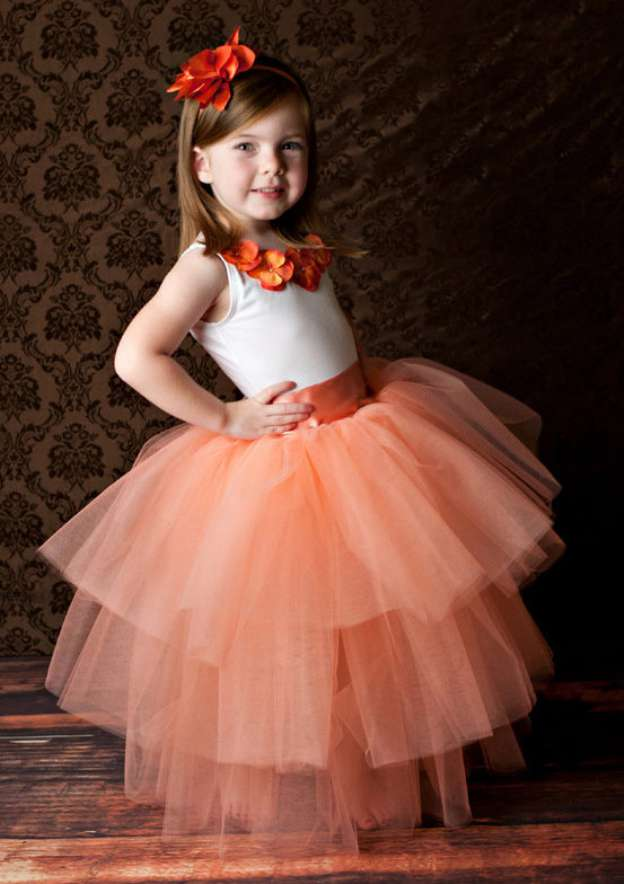 Ball Gown Bateau Sleeveless Long/Floor-Length Tulle Flower Girl Dress With Handmade Flowers