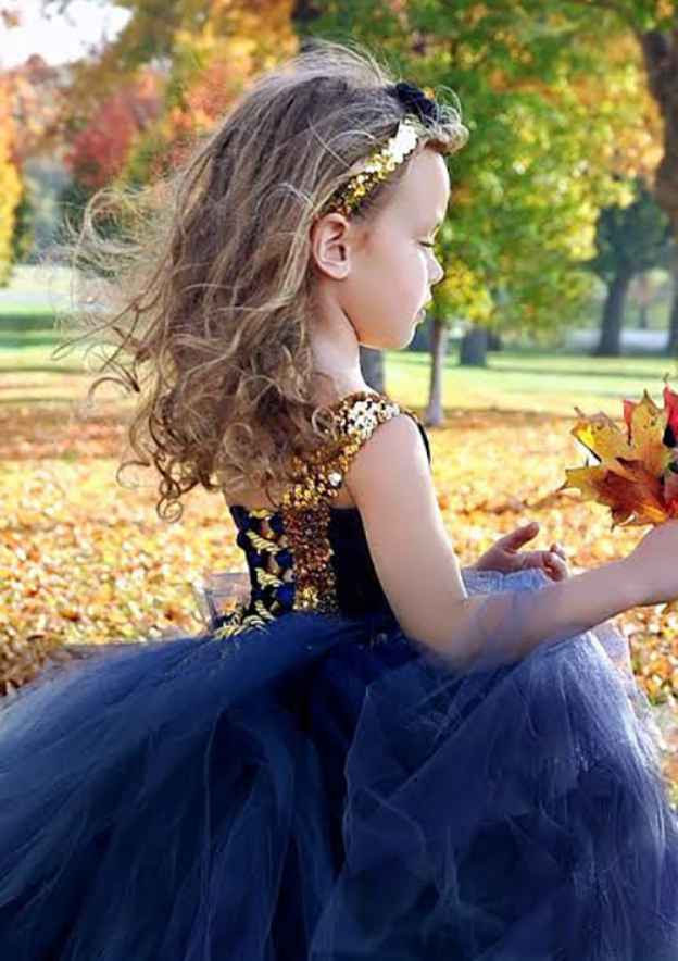 Ball Gown One-Shoulder Sleeveless Asymmetrical Tulle Flower Girl Dress With Sashes Sequins
