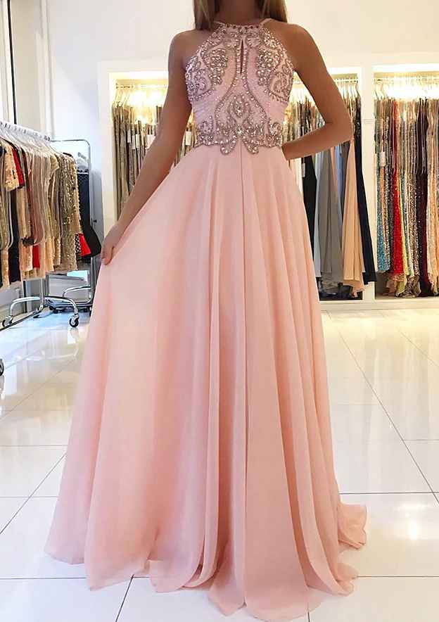 A-Line/Princess Scoop Neck Sleeveless Long/Floor-Length Chiffon Prom Dress With Beading