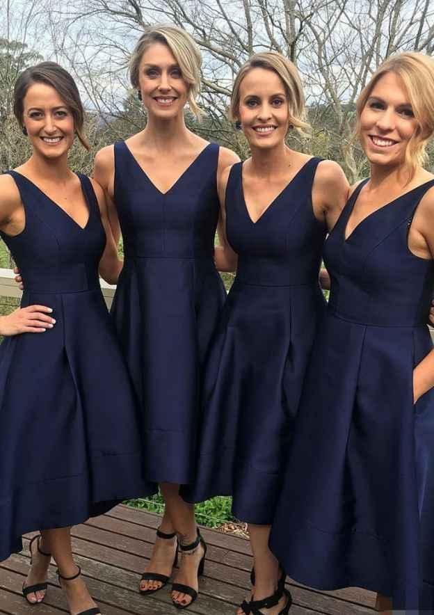 A-Line/Princess V Neck Sleeveless Asymmetrical Satin Bridesmaid Dress With Pockets