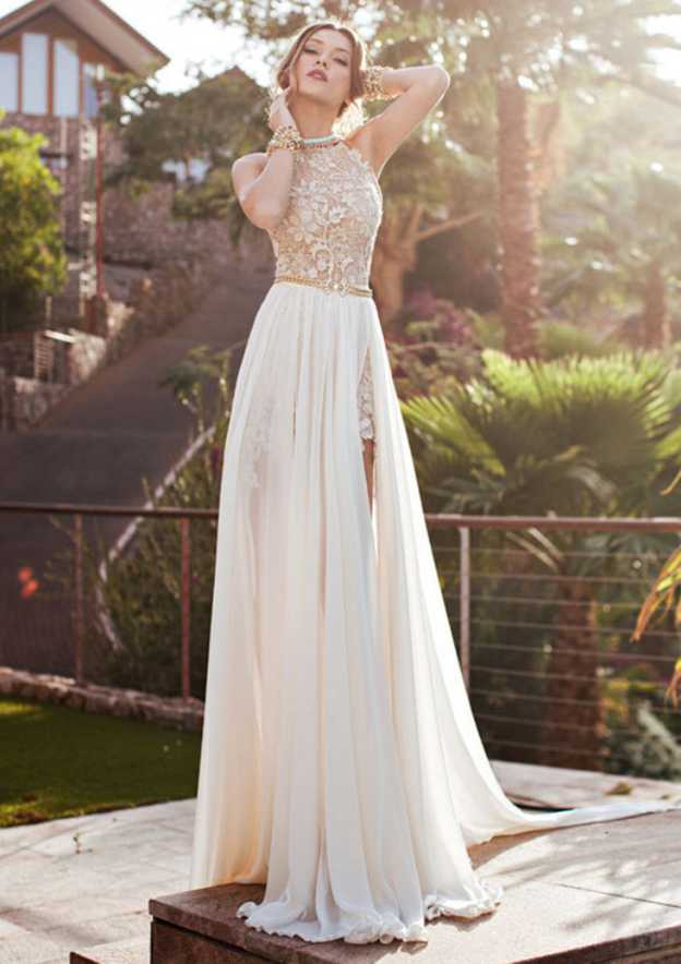 A-Line/Princess Halter Sleeveless Court Train Chiffon Prom Dress With Split Appliqued Beading
