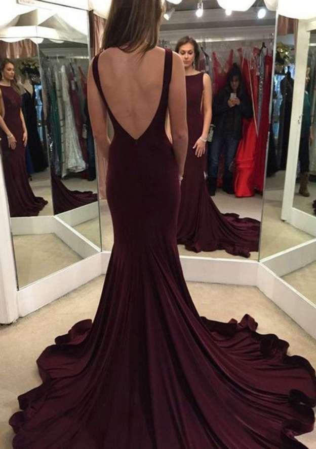 Trumpet/Mermaid Bateau Sleeveless Chapel Train Elastic Satin Prom Dress With Pleated