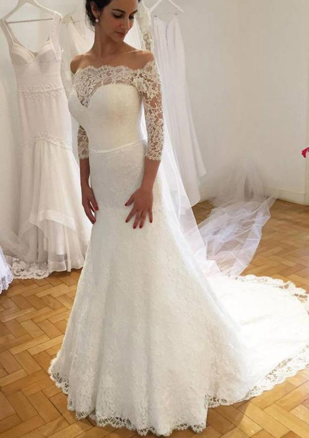 Sheath/Column Off-The-Shoulder 3/4 Sleeve Court Train Lace Wedding Dress