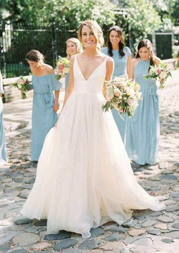 A-Line/Princess V Neck Sleeveless Sweep Train Chiffon Wedding Dress