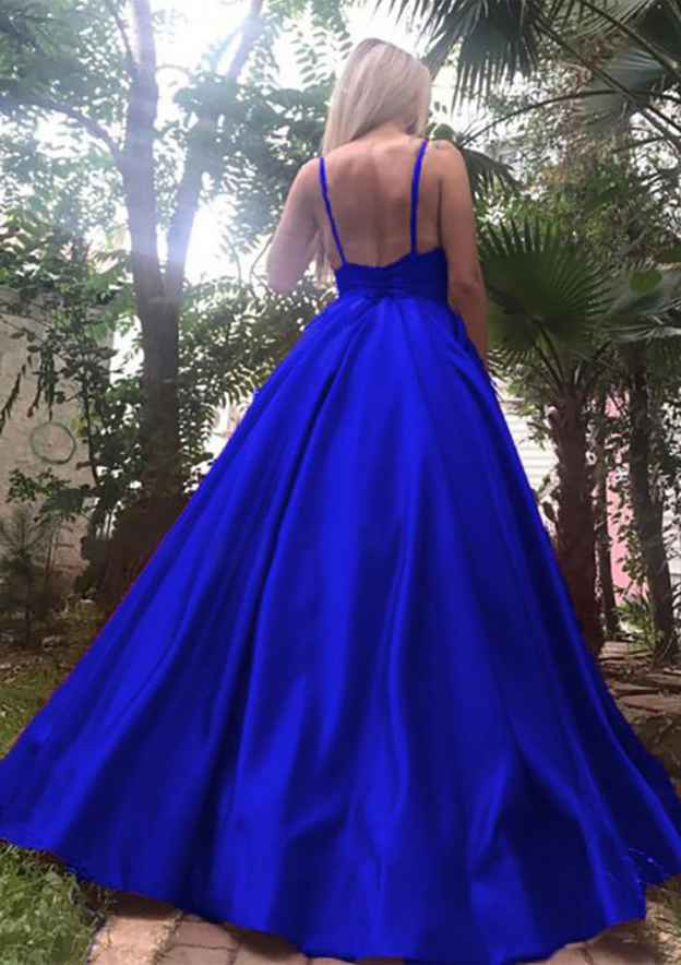 A-Line/Princess V Neck Sleeveless Long/Floor-Length Satin Prom Dress