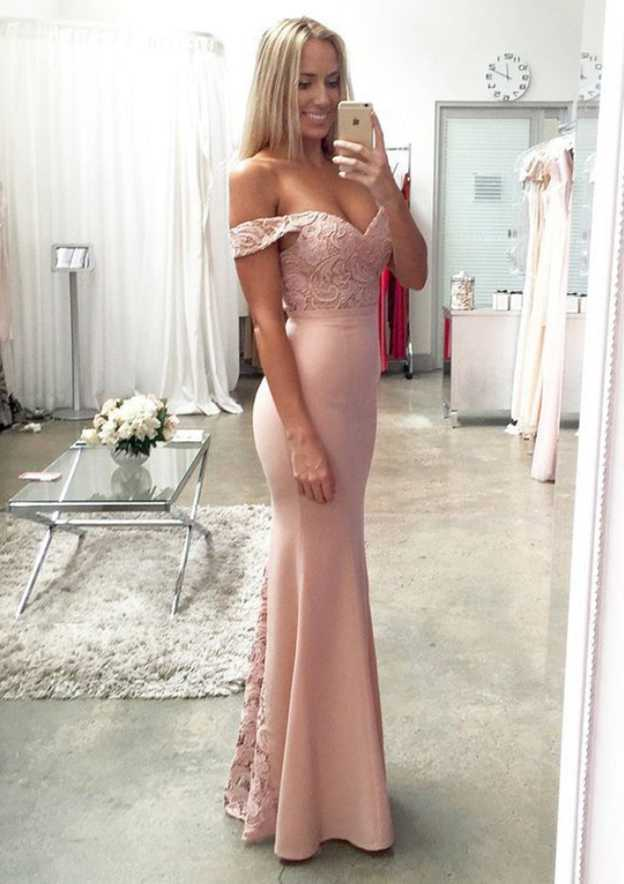 Trumpet/Mermaid Off-The-Shoulder Sleeveless Long/Floor-Length Elastic Satin Prom Dress With Lace