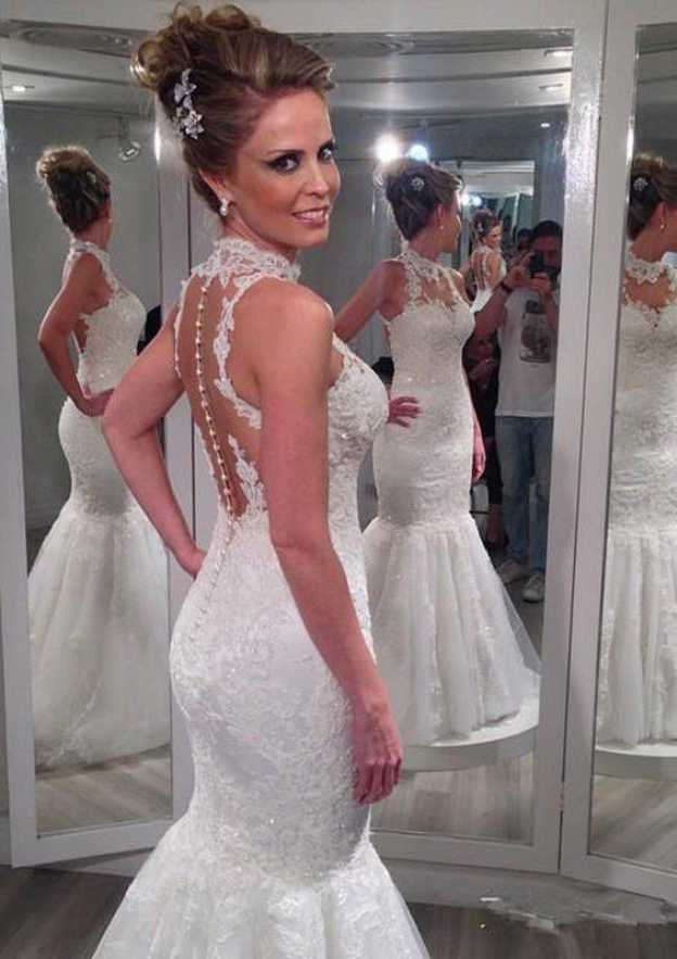 Trumpet/Mermaid High-Neck Sleeveless Long/Floor-Length Lace Wedding Dress With Appliqued