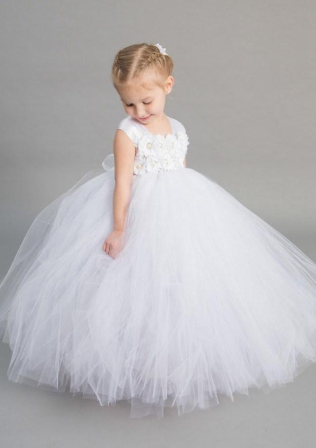 8639ee08e6b Ball Gown Square Neckline Sleeveless Long Floor-Length Tulle Flower Girl  Dress With Flowers