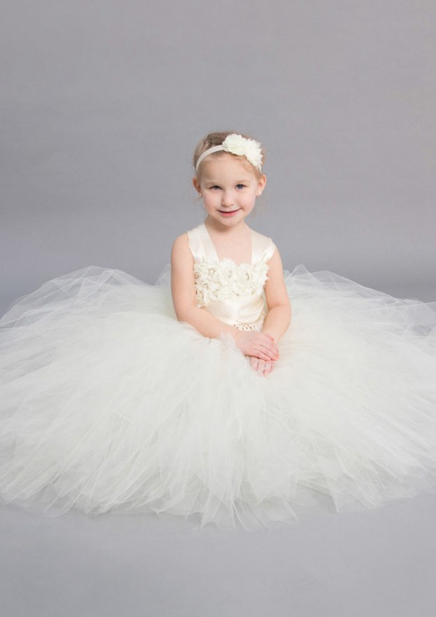 A-Line/Princess Square Neckline Sleeveless Ankle-Length Tulle Flower Girl Dress With Flowers