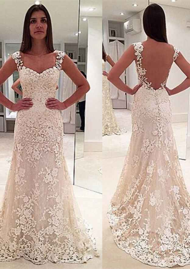 Sheath/Column Sweetheart Sleeveless Sweep Train Lace Wedding Dress With Appliqued