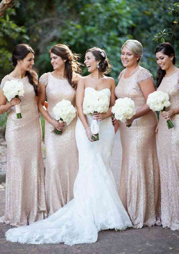 Sheath/Column Scoop Neck Short Sleeve Long/Floor-Length Sequined Bridesmaid Dresses