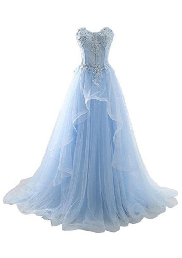 A-Line/Princess Sweetheart Sleeveless Court Train Tulle Prom Dress With Beading Appliqued