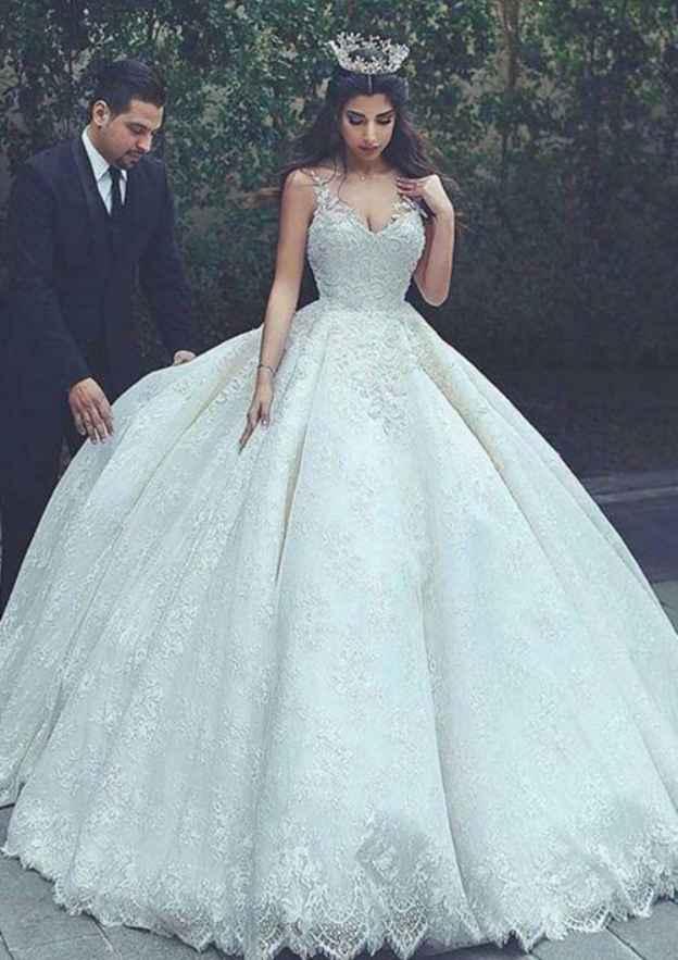 Ball Gown Bateau Sleeveless Long/Floor-Length Lace Wedding Dress