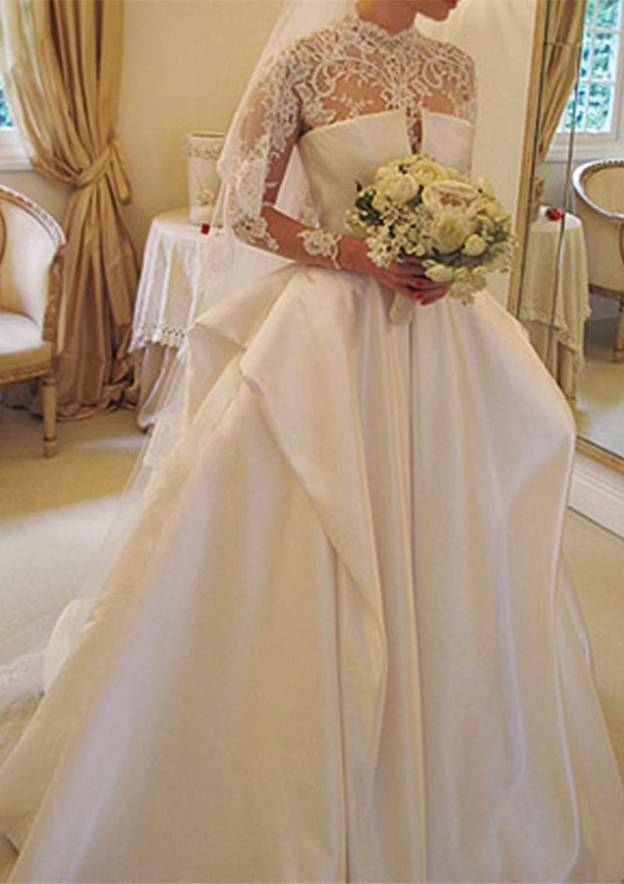 Ball Gown High-Neck Full/Long Sleeve Court Train Satin Wedding Dress With Lace