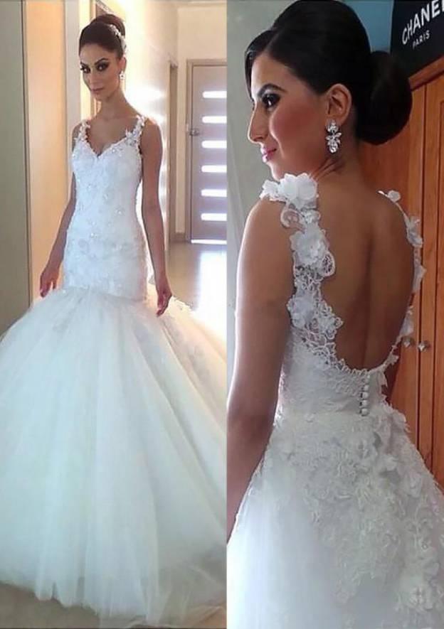 Sheath/Column V Neck Sleeveless Long/Floor-Length Tulle Wedding Dress With Appliqued