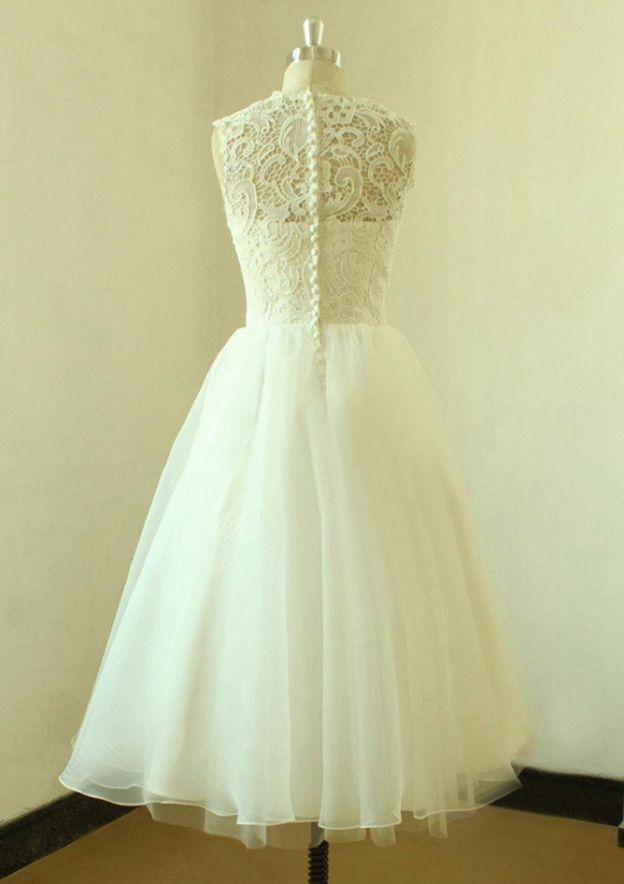A-Line/Princess Bateau Sleeveless Tea-Length Organza Wedding Dress With Lace