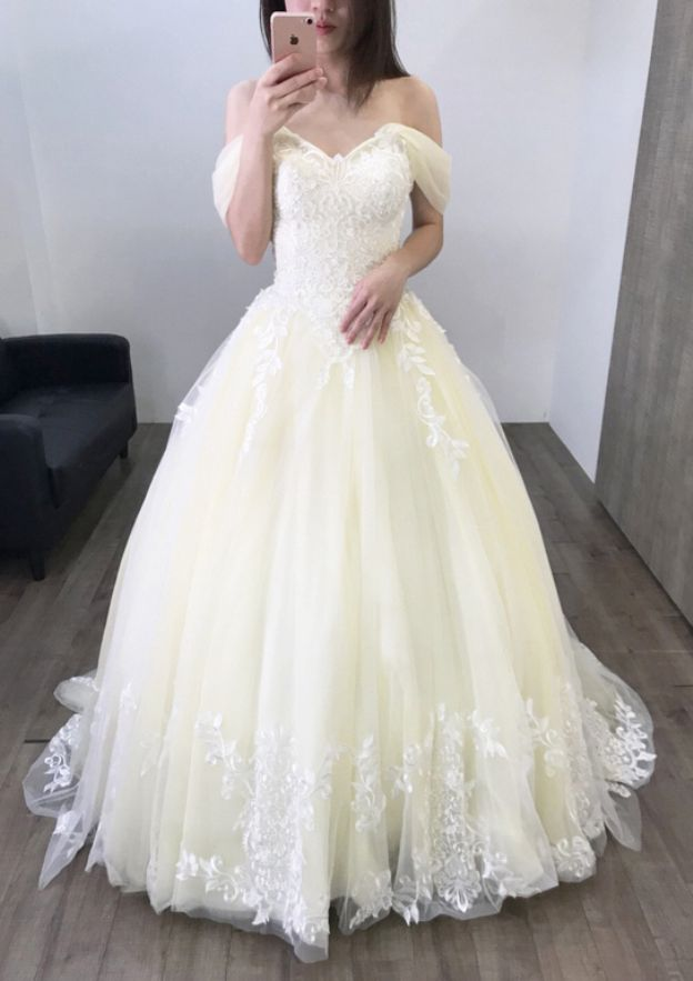 Ball Gown Off-The-Shoulder Sleeveless Sweep Train Tulle Wedding Dress With Appliqued Lace