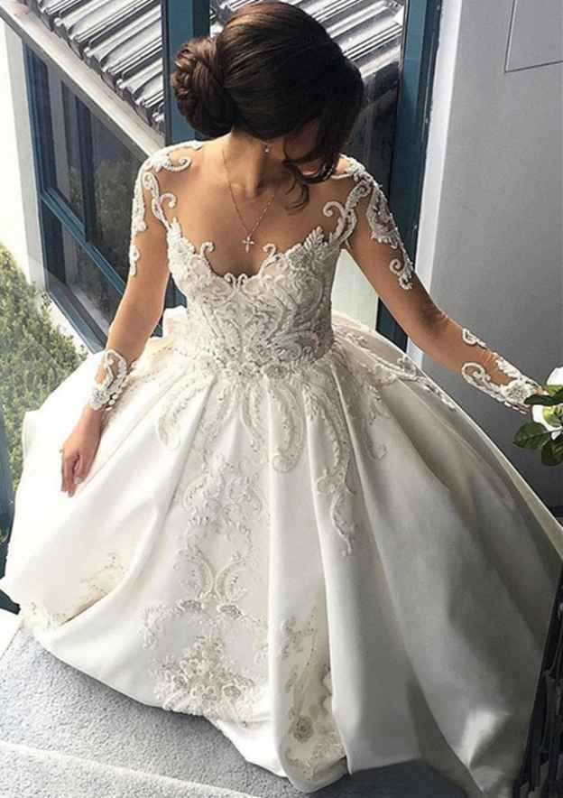 Ball Gown Scoop Neck Full/Long Sleeve Cathedral Train Satin Wedding Dress With Appliqued