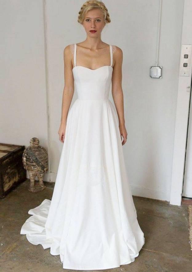 A-Line/Princess Sweetheart Sleeveless Sweep Train Elastic Satin Wedding Dress