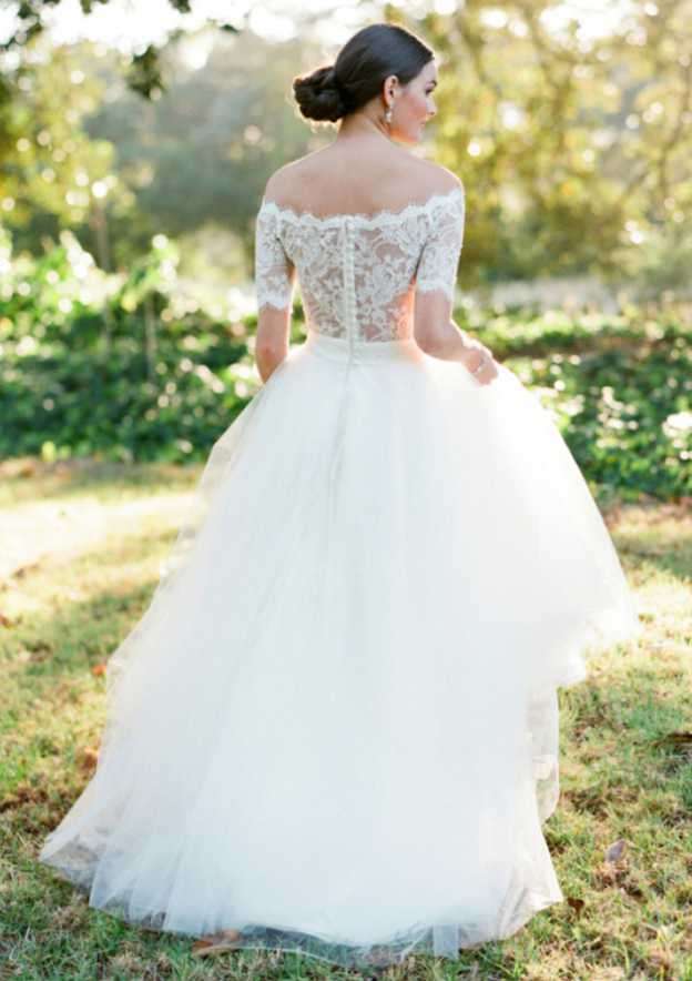 A-Line/Princess Off-The-Shoulder Short Sleeve Long/Floor-Length Tulle Wedding Dress With Lace