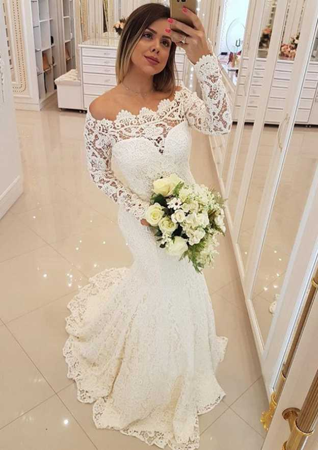 Trumpet/Mermaid Off-The-Shoulder Full/Long Sleeve Sweep Train Lace Wedding Dress