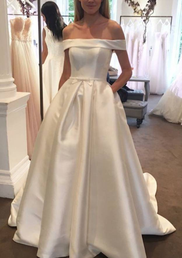 Ball Gown Off-The-Shoulder Sleeveless Court Train Satin Wedding Dress With Waistband