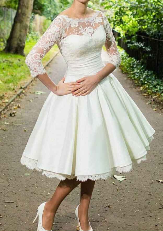 Ball Gown Bateau 3/4 Sleeve Knee-Length Satin Wedding Dress With Lace