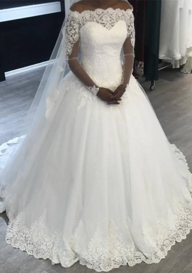 Ball Gown Off-The-Shoulder Full/Long Sleeve Court Train Tulle Wedding Dress With Lace Appliqued
