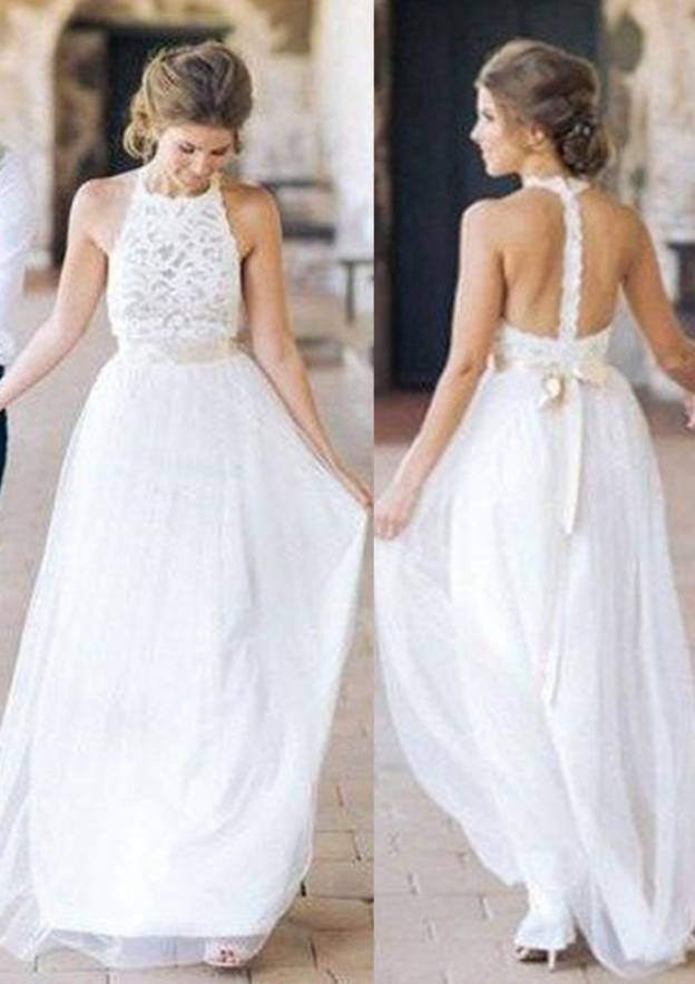 A-Line/Princess Scoop Neck Sleeveless Long/Floor-Length Tulle Wedding Dress With Lace Sashes