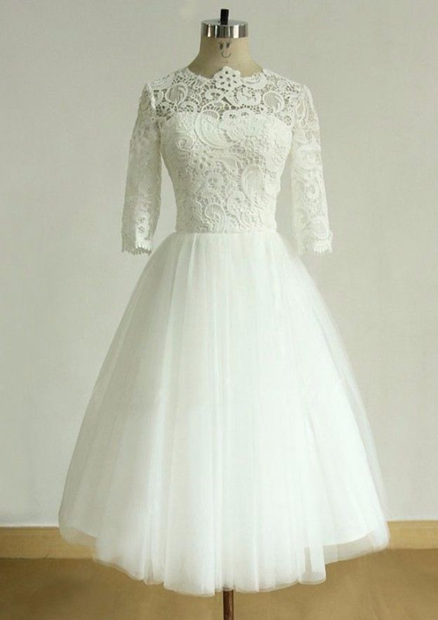 A-Line/Princess Scoop Neck Half Sleeve Tea-Length Tulle Wedding Dress With Lace