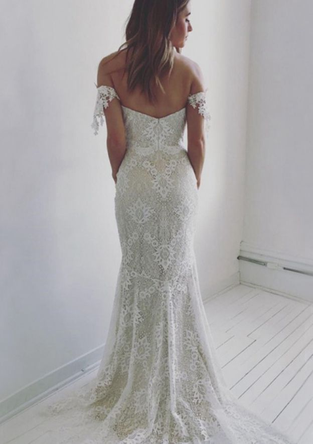 Sheath/Column Off-The-Shoulder Sleeveless Sweep Train Lace Wedding Dress