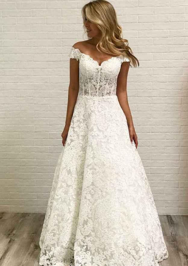 A-Line/Princess Off-The-Shoulder Sleeveless Long/Floor-Length Lace Wedding Dress