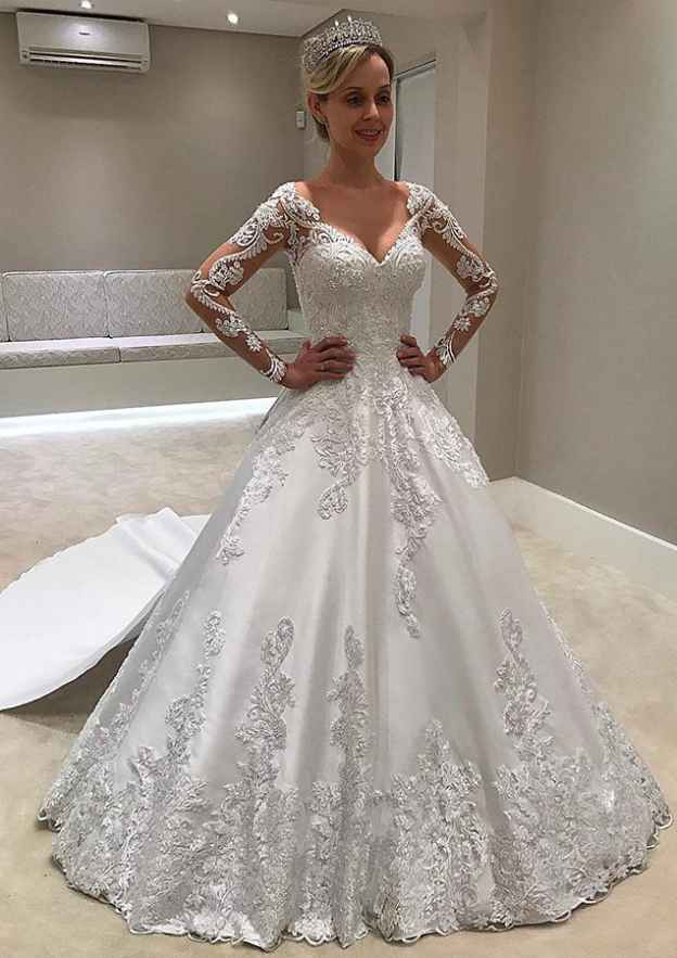 Ball Gown V Neck Full/Long Sleeve Chapel Train Satin Wedding Dress With Appliqued Lace