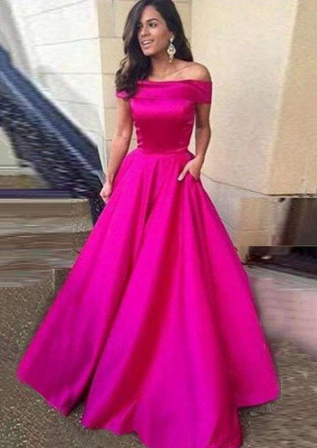 Ball Gown Off-The-Shoulder Sleeveless Sweep Train Satin Prom Dress With Pleated