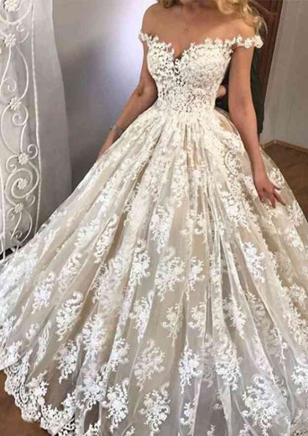 Ball Gown Off-The-Shoulder Sleeveless Long/Floor-Length Lace Wedding Dress
