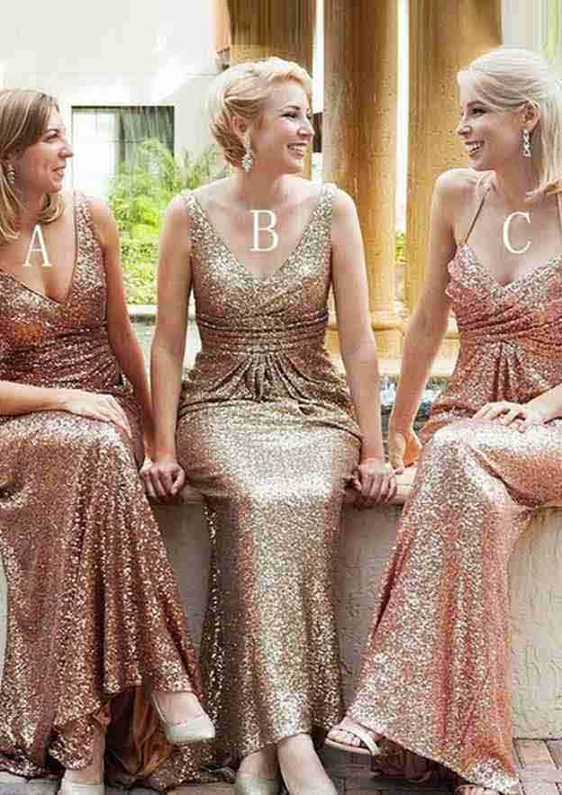 Sheath/Column V Neck Sleeveless Sweep Train Sequined Bridesmaid Dresses With Pleated
