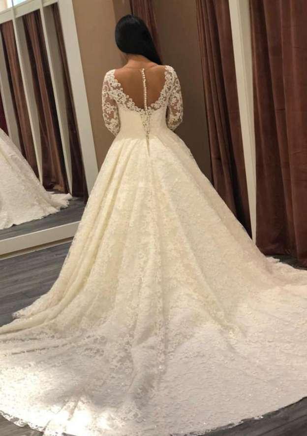 Ball Gown Bateau Full/Long Sleeve Chapel Train Lace Wedding Dress